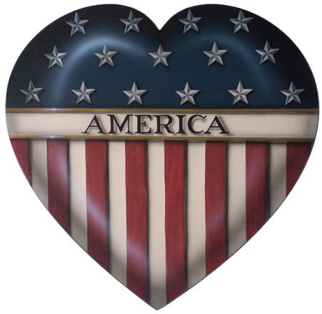 America Heart - A Patriotic Decoration & Display from Cottages and Gardens