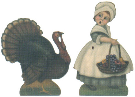Pilgrim Girl & Turkey - A Thanksgiving Decoration & Diplay from Cottages and Gardens