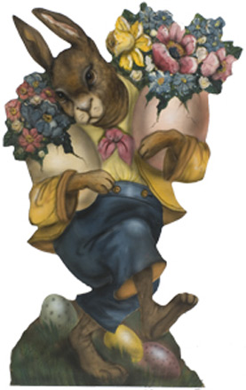 Rabbit With Two Bouquets - An Easter Decoration & Rabbit Display from Cottages and Gardens / Boardwalk Originals