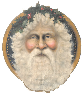 Santa With Holly Disk - A Christmas Decoration & Display from Cottages and Gardens