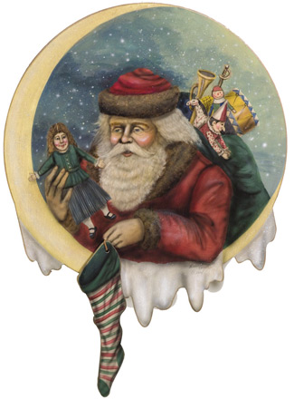 Santa With Stocking Disk - A Christmas Decoration & Display from Cottages and Gardens