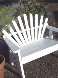 The Cottage Bench - A Painted Redwood Garden Bench Exclusively from Cottages and Gardens