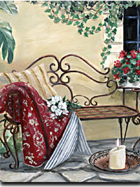Iron Bench Giclee Print by Mary Kay Crowley from Cottages and Gardens