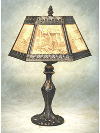 Scenic Landscapes Porcelain Lithophane 6 Panel Table Lamp
