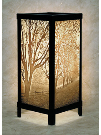 Misty Meadows Luminaire - A Porcelain Lithophane from The Porcelain Garden