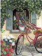 Her Red Bike - A Giclee by Mary Kay Crowley from Cottages and Gardens